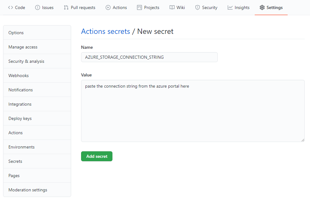 GitHub Actions save new repository secret