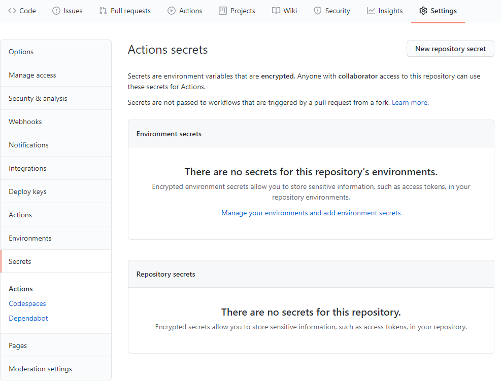 GitHub Actions add new repository secret